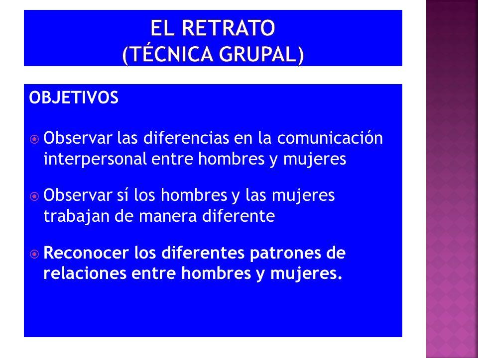 OBJETIVOS Observar las diferencias en la comunicación interpersonal entre hombres y mujeres Observar sí los hombres y las mujeres trabajan de manera d