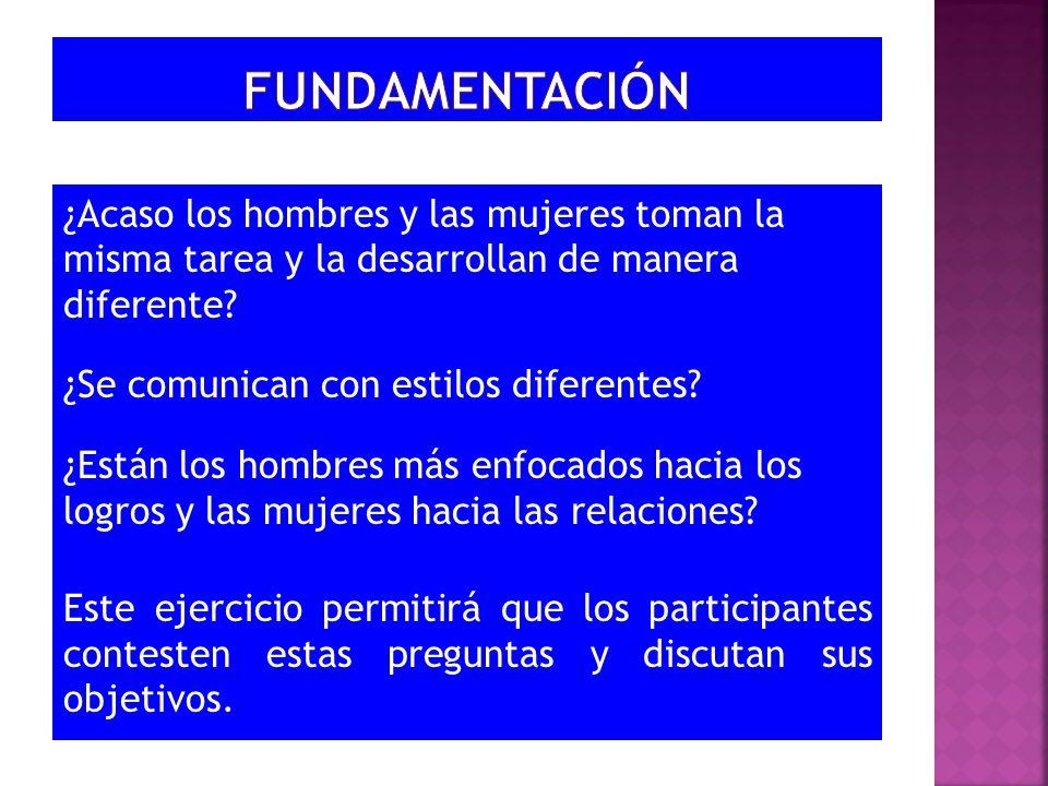 ¿Acaso los hombres y las mujeres toman la misma tarea y la desarrollan de manera diferente? ¿Se comunican con estilos diferentes? ¿Están los hombres m