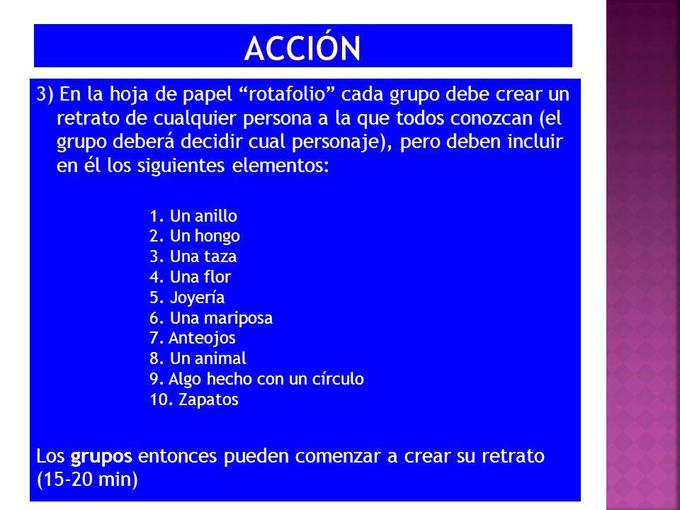 3) En la hoja de papel rotafolio cada grupo debe crear un retrato de cualquier persona a la que todos conozcan (el grupo deberá decidir cual personaje