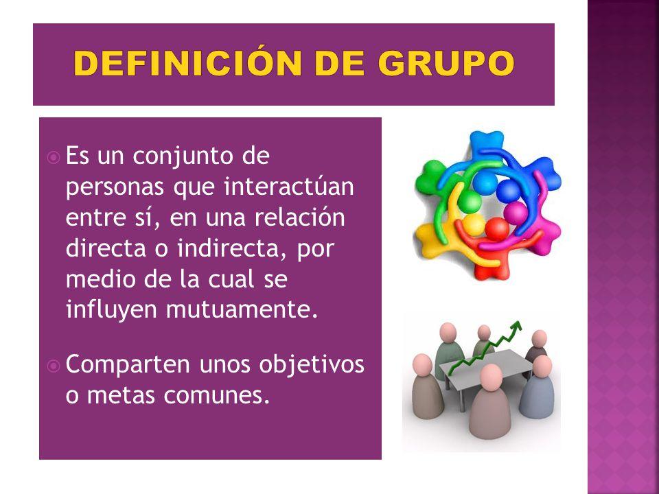 Es un conjunto de personas que interactúan entre sí, en una relación directa o indirecta, por medio de la cual se influyen mutuamente. Comparten unos
