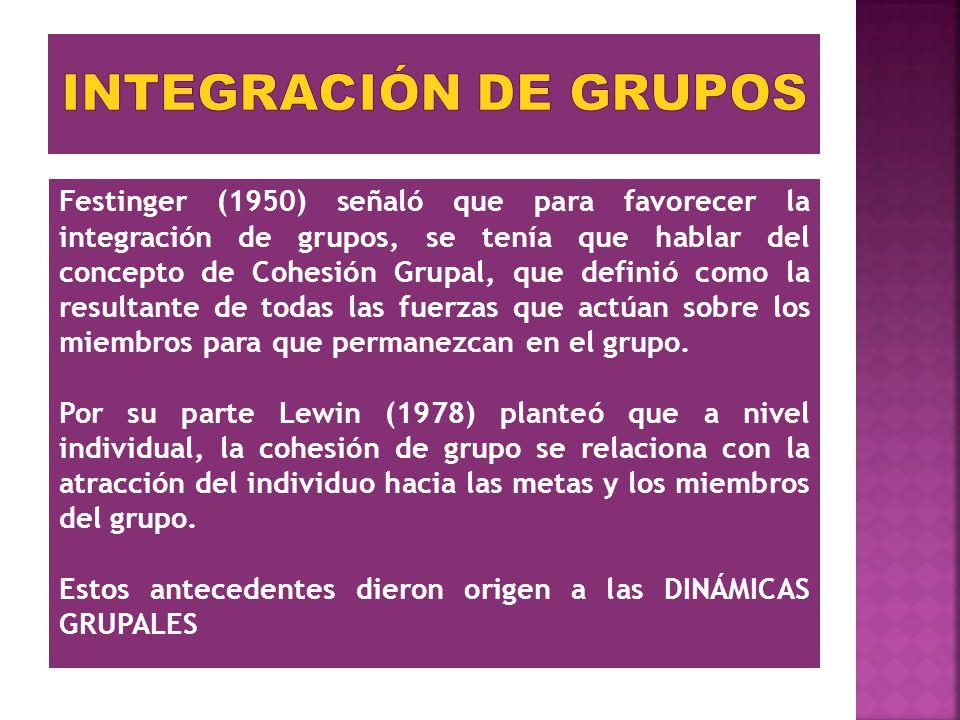 Festinger (1950) señaló que para favorecer la integración de grupos, se tenía que hablar del concepto de Cohesión Grupal, que definió como la resultan