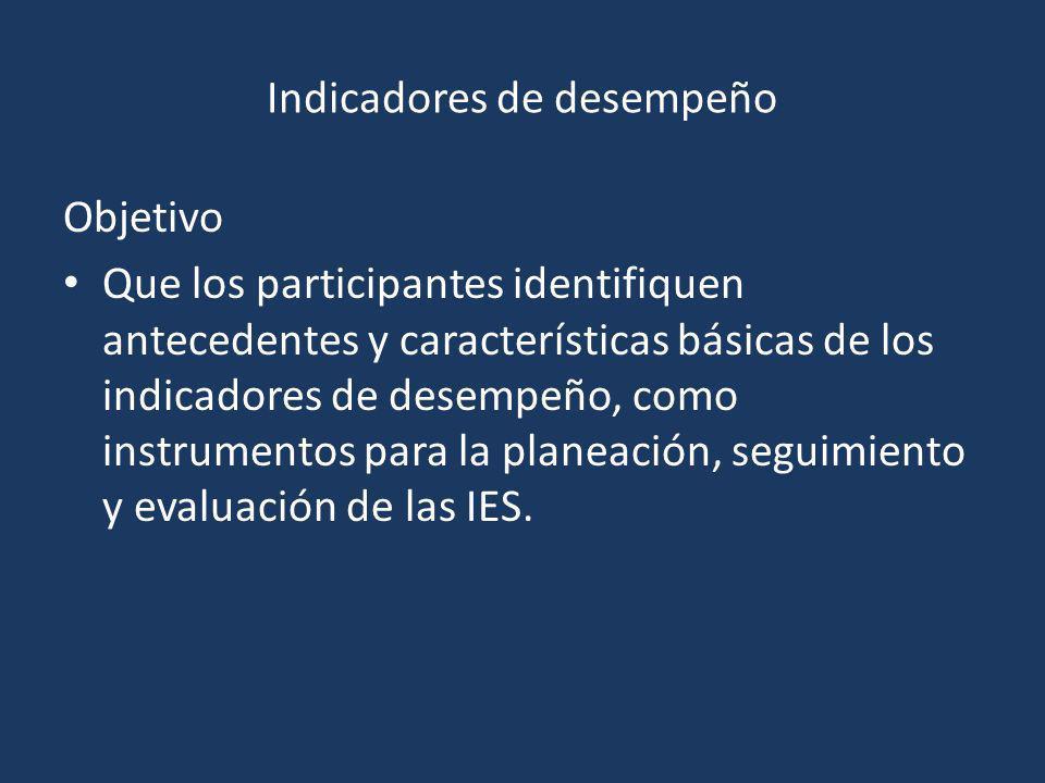 Indicadores de desempeño Objetivo Que los participantes identifiquen antecedentes y características básicas de los indicadores de desempeño, como instrumentos para la planeación, seguimiento y evaluación de las IES.