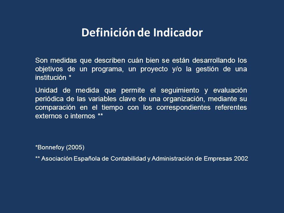 Definición de Indicador Son medidas que describen cuán bien se están desarrollando los objetivos de un programa, un proyecto y/o la gestión de una institución * Unidad de medida que permite el seguimiento y evaluación periódica de las variables clave de una organización, mediante su comparación en el tiempo con los correspondientes referentes externos o internos ** *Bonnefoy (2005) ** Asociación Española de Contabilidad y Administración de Empresas 2002