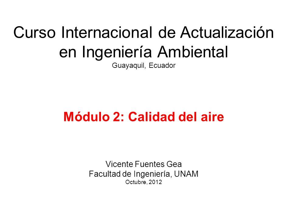 Curso Internacional de Actualización en Ingeniería Ambiental Guayaquil, Ecuador Módulo 2: Calidad del aire Vicente Fuentes Gea Facultad de Ingeniería,