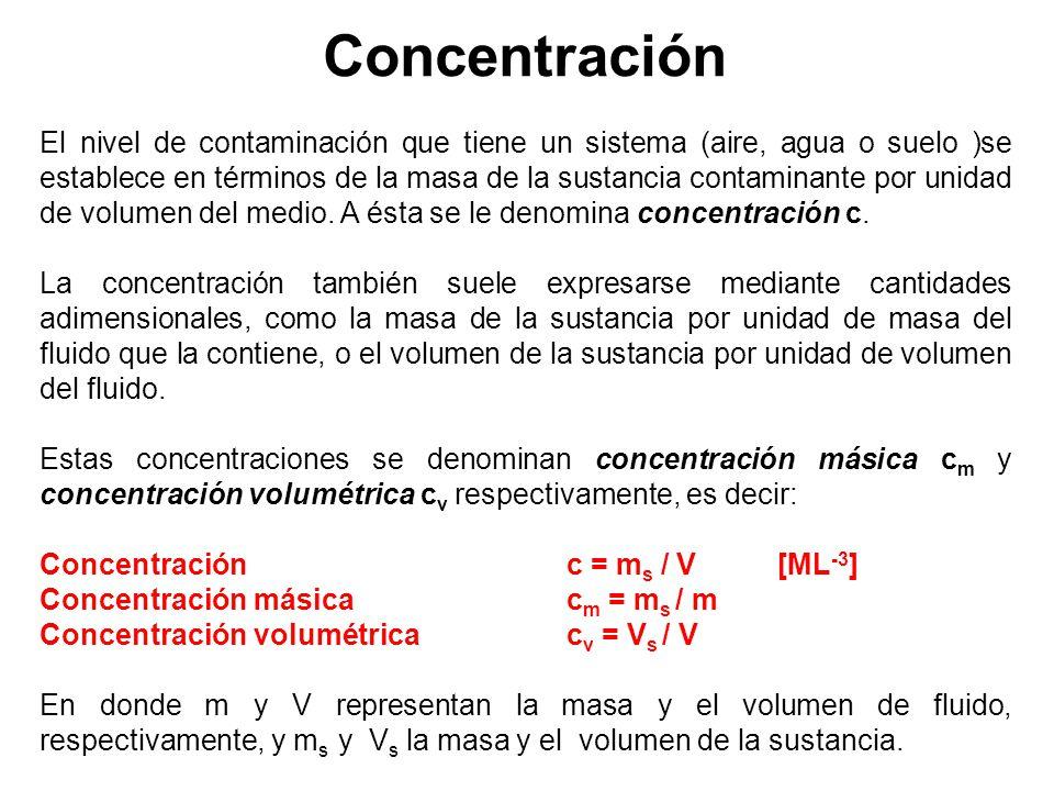 Concentración El nivel de contaminación que tiene un sistema (aire, agua o suelo )se establece en términos de la masa de la sustancia contaminante por