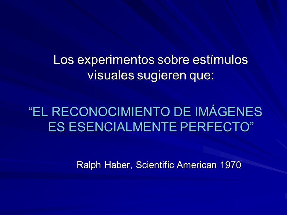 Los experimentos sobre estímulos visuales sugieren que: EL RECONOCIMIENTO DE IMÁGENES ES ESENCIALMENTE PERFECTO Ralph Haber, Scientific American 1970
