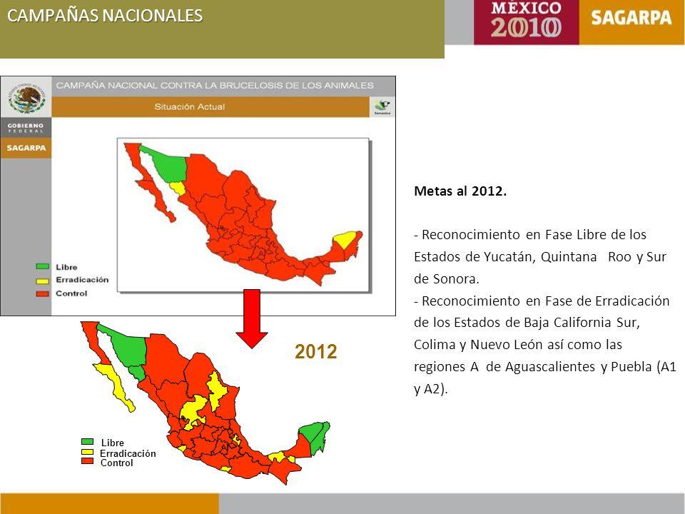 Erradicación Control Libre 2012 Metas al 2012.