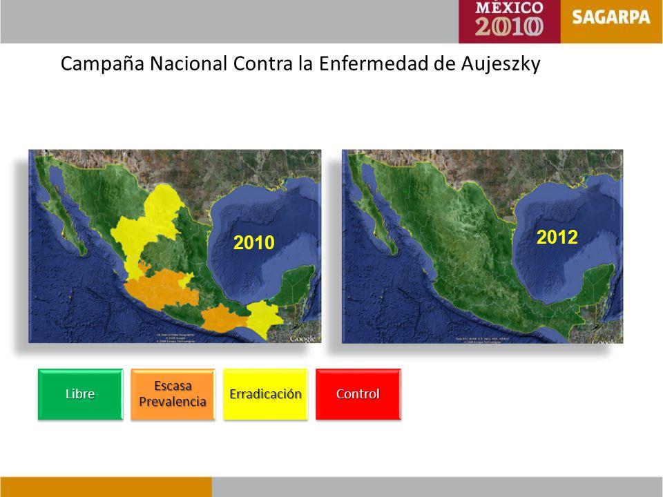 Campaña Nacional Contra la Enfermedad de AujeszkyLibre Escasa Prevalencia ErradicaciónControl 2012 2010