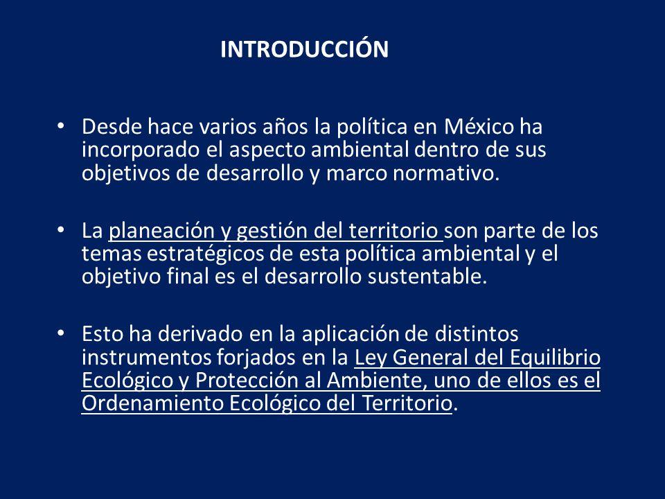 Definido en la Legislación Mexicana (LGEEPA y LGAH) el instrumento de política ambiental cuyo objeto es regular o inducir el uso del suelo y las actividades productivas, con el fin de lograr la protección del medio ambiente y la preservación y el aprovechamiento sustentable de los recursos naturales, a partir del análisis de las tendencias de deterioro y las potencialidades del aprovechamiento de los mismos Antecedentes en Ordenamiento Territorial