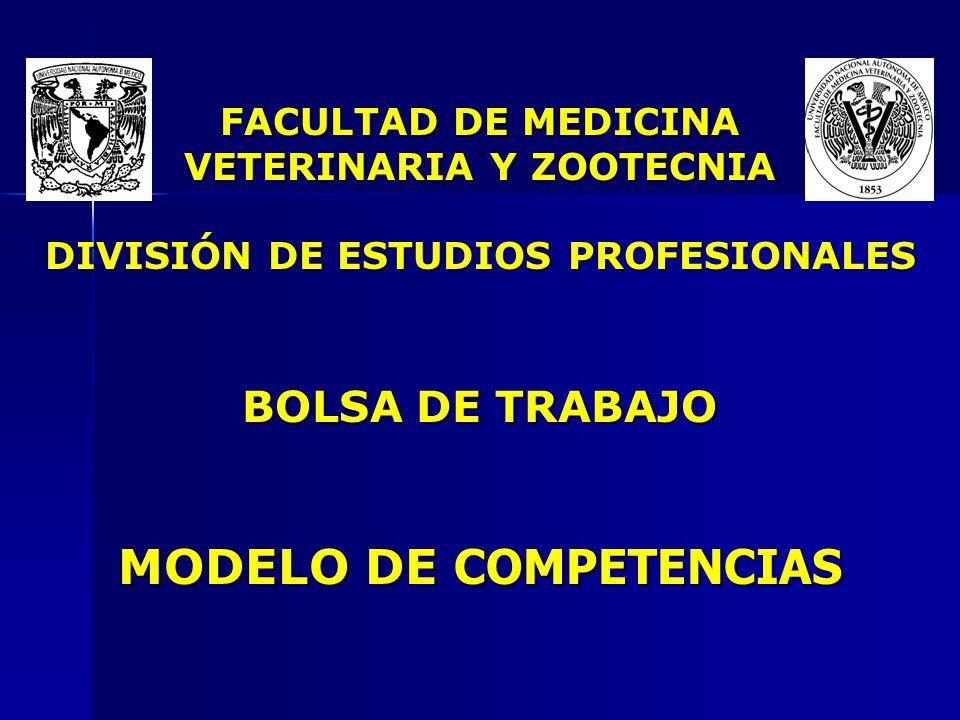 FACULTAD DE MEDICINA VETERINARIA Y ZOOTECNIA DIVISIÓN DE ESTUDIOS PROFESIONALES BOLSA DE TRABAJO MODELO DE COMPETENCIAS