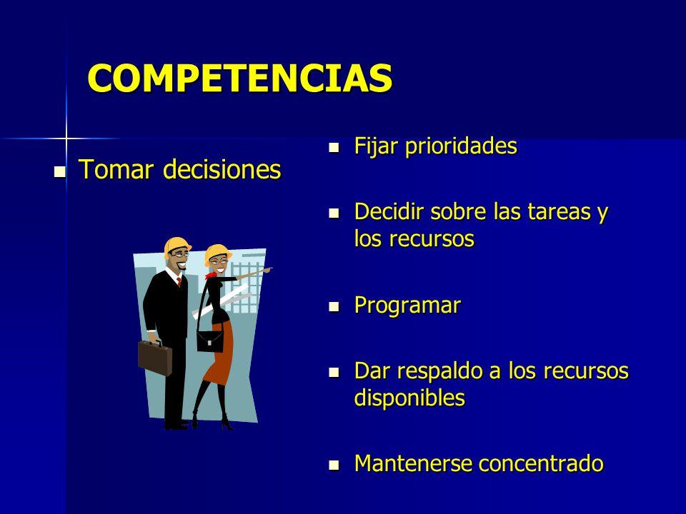 COMPETENCIAS Tomar decisiones Tomar decisiones Fijar prioridades Fijar prioridades Decidir sobre las tareas y los recursos Decidir sobre las tareas y