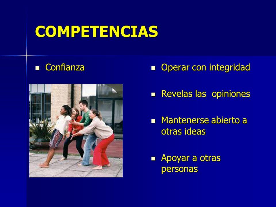 COMPETENCIAS Confianza Confianza Operar con integridad Operar con integridad Revelas las opiniones Revelas las opiniones Mantenerse abierto a otras id