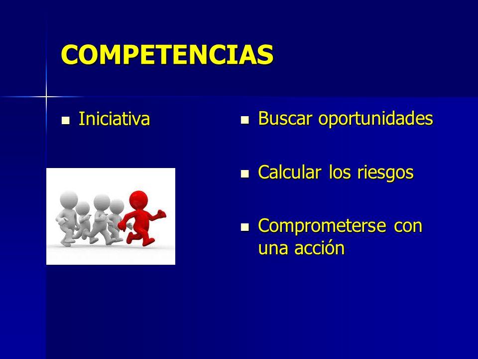 COMPETENCIAS Iniciativa Iniciativa Buscar oportunidades Buscar oportunidades Calcular los riesgos Calcular los riesgos Comprometerse con una acción Comprometerse con una acción