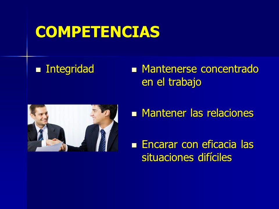 COMPETENCIAS Integridad Integridad Mantenerse concentrado en el trabajo Mantenerse concentrado en el trabajo Mantener las relaciones Mantener las rela