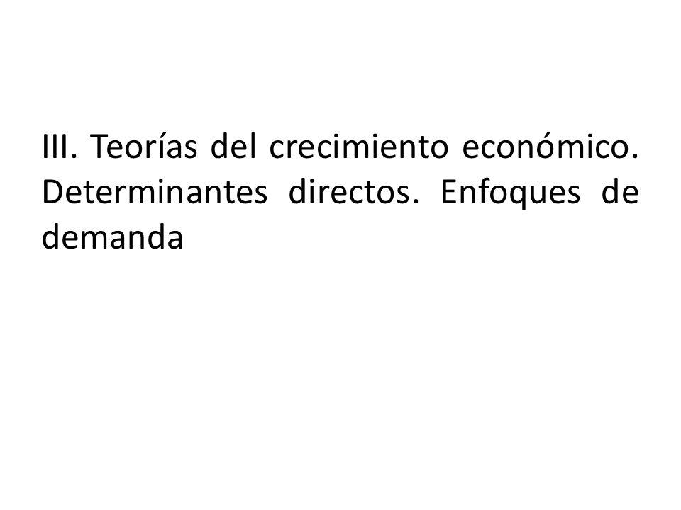 III. Teorías del crecimiento económico. Determinantes directos. Enfoques de demanda