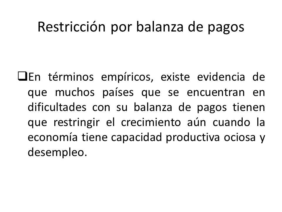 Restricción por balanza de pagos En términos empíricos, existe evidencia de que muchos países que se encuentran en dificultades con su balanza de pago