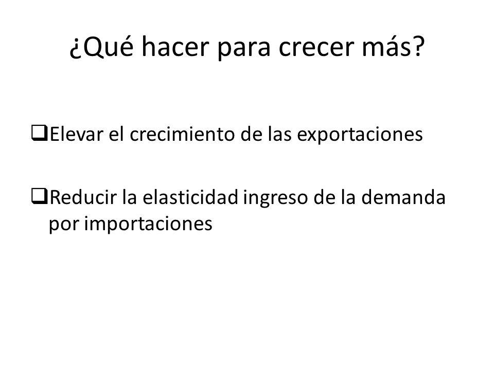 ¿Qué hacer para crecer más? Elevar el crecimiento de las exportaciones Reducir la elasticidad ingreso de la demanda por importaciones