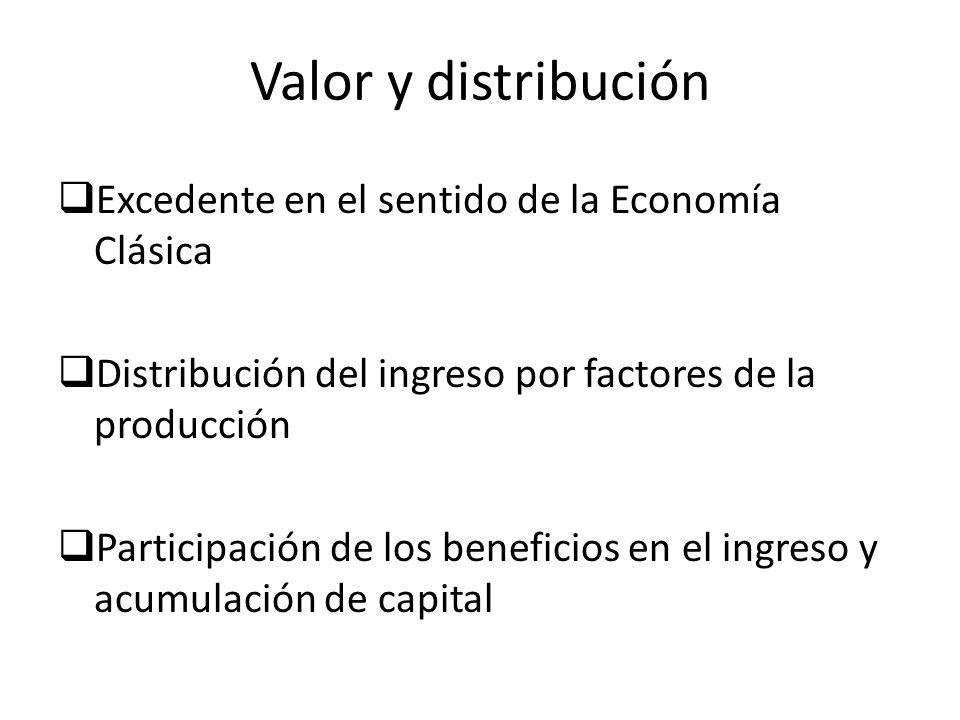 Valor y distribución Excedente en el sentido de la Economía Clásica Distribución del ingreso por factores de la producción Participación de los benefi