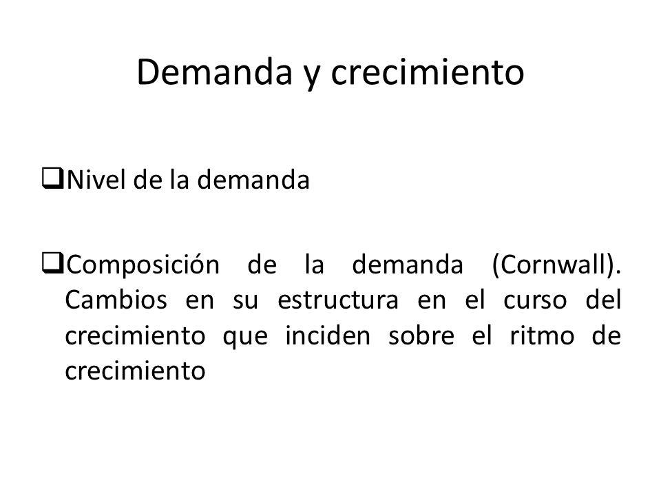 Demanda y crecimiento Nivel de la demanda Composición de la demanda (Cornwall). Cambios en su estructura en el curso del crecimiento que inciden sobre