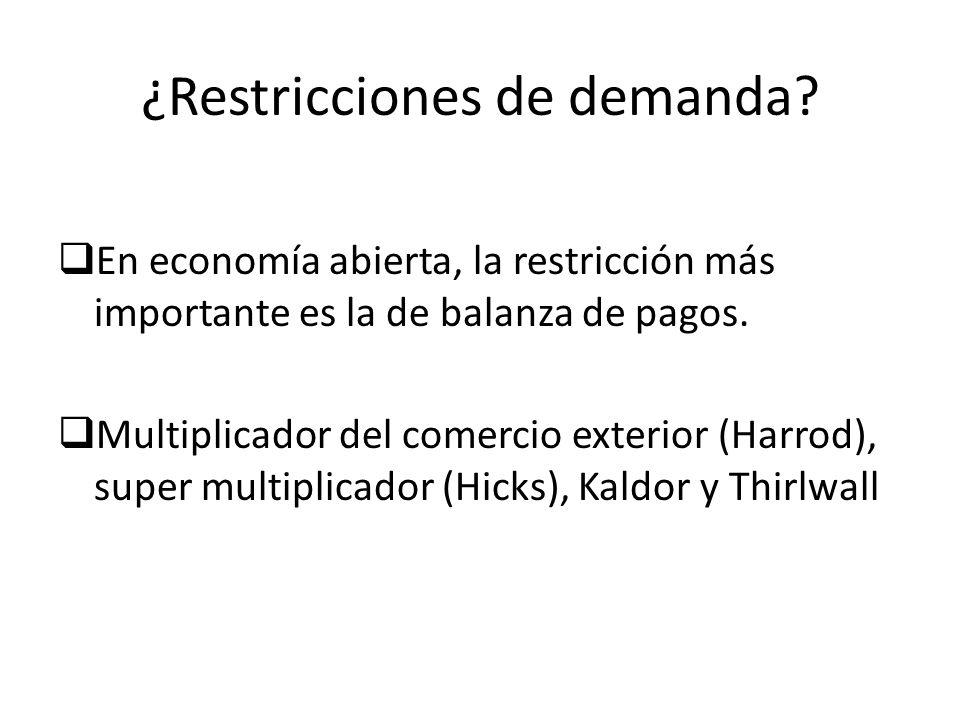 ¿Restricciones de demanda? En economía abierta, la restricción más importante es la de balanza de pagos. Multiplicador del comercio exterior (Harrod),
