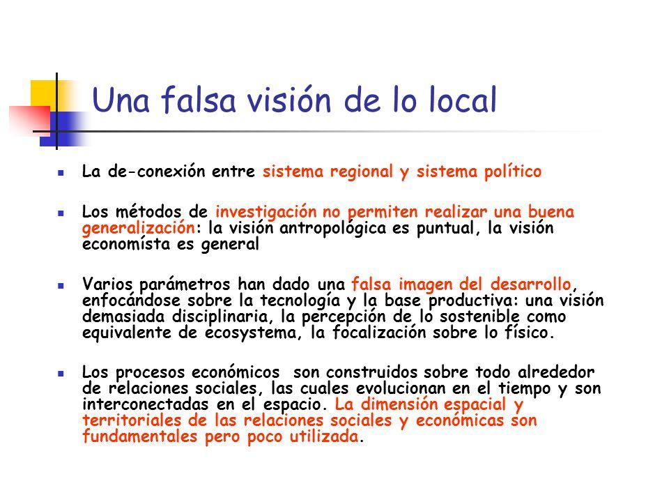 Una falsa visión de lo local La de-conexión entre sistema regional y sistema político Los métodos de investigación no permiten realizar una buena gene