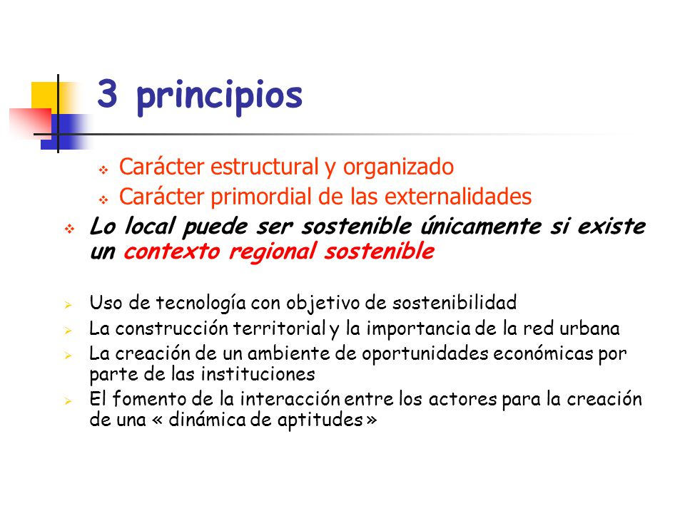 3 principios Carácter estructural y organizado Carácter primordial de las externalidades Lo local puede ser sostenible únicamente si existe un context