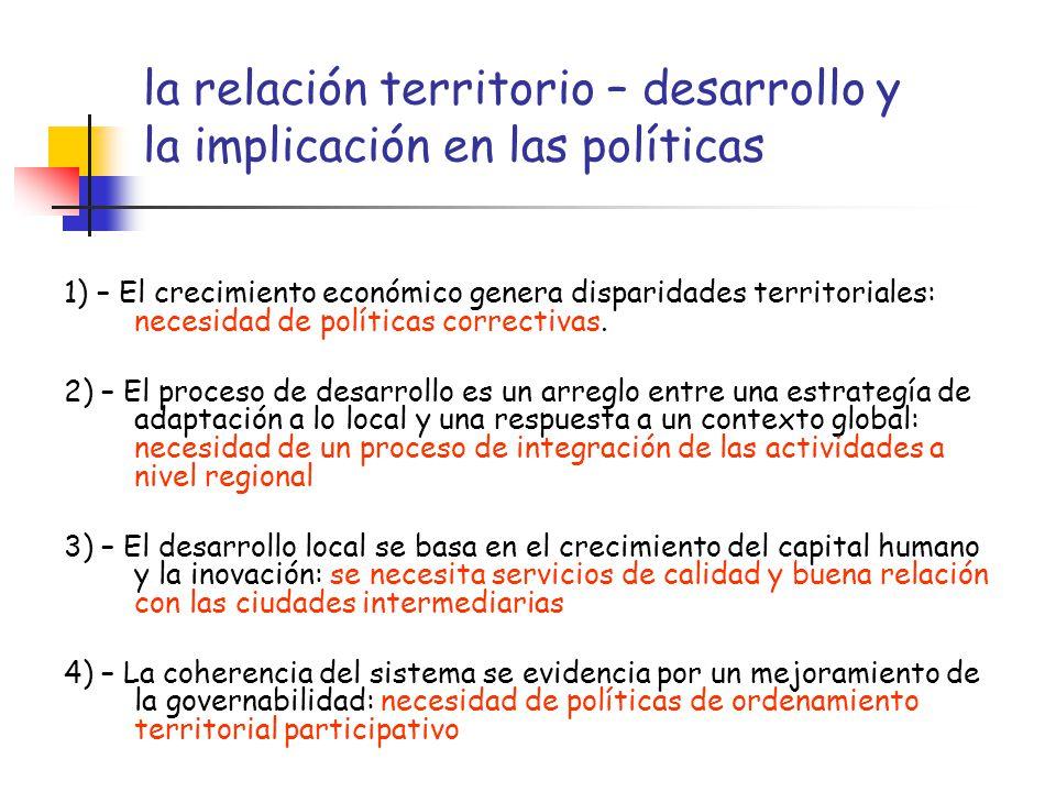 la relación territorio – desarrollo y la implicación en las políticas 1) – El crecimiento económico genera disparidades territoriales: necesidad de po