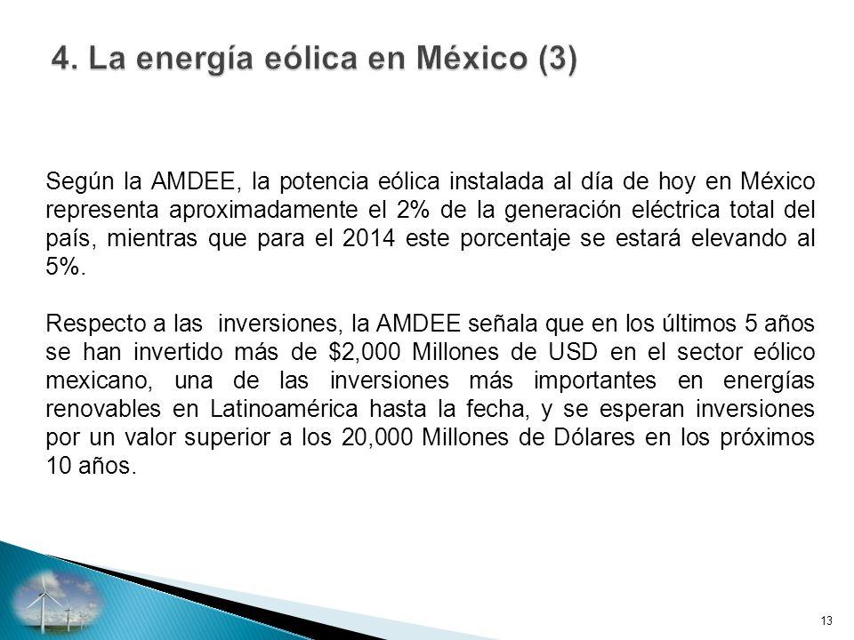 Según la AMDEE, la potencia eólica instalada al día de hoy en México representa aproximadamente el 2% de la generación eléctrica total del país, mientras que para el 2014 este porcentaje se estará elevando al 5%.
