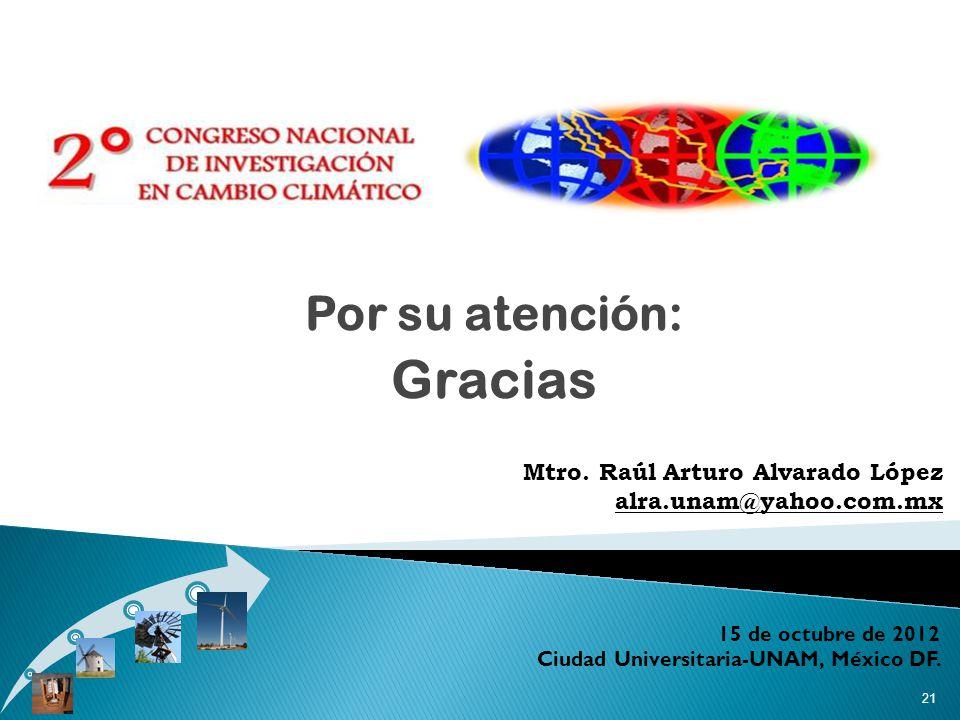 Por su atención: Gracias 21 15 de octubre de 2012 Ciudad Universitaria-UNAM, México DF.