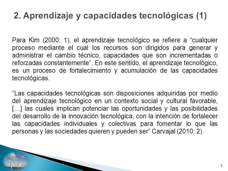 Para Kim (2000: 1), el aprendizaje tecnológico se refiere a cualquier proceso mediante el cual los recursos son dirigidos para generar y administrar el cambio técnico, capacidades que son incrementadas o reforzadas constantemente.