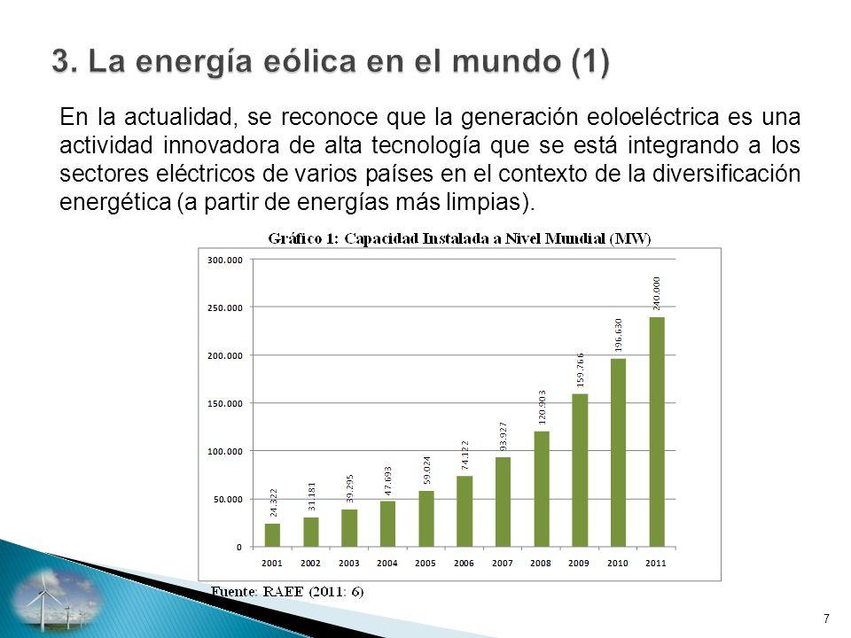 En la actualidad, se reconoce que la generación eoloeléctrica es una actividad innovadora de alta tecnología que se está integrando a los sectores eléctricos de varios países en el contexto de la diversificación energética (a partir de energías más limpias).