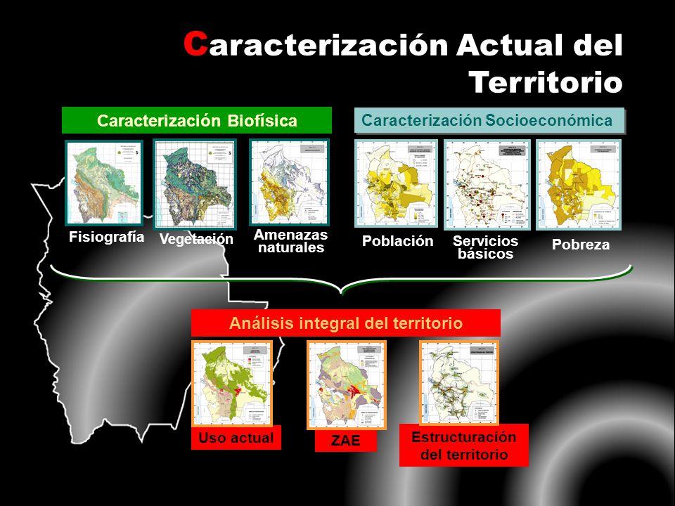 C aracterización Actual del Territorio Caracterización Biofísica Fisiografía Amenazas naturales Vegetación Población Caracterización Socioeconómica Po