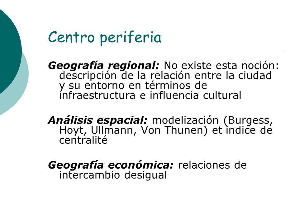 Centro periferia Geografía regional: No existe esta noción: descripción de la relación entre la ciudad y su entorno en términos de infraestructura e i