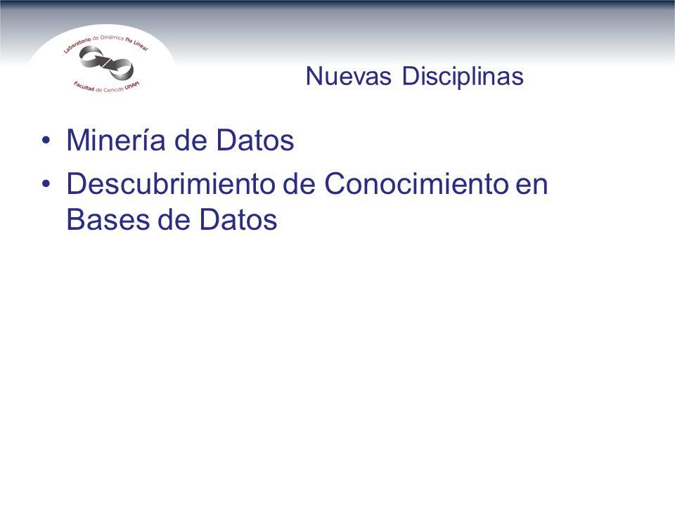 Nuevas Disciplinas Minería de Datos Descubrimiento de Conocimiento en Bases de Datos