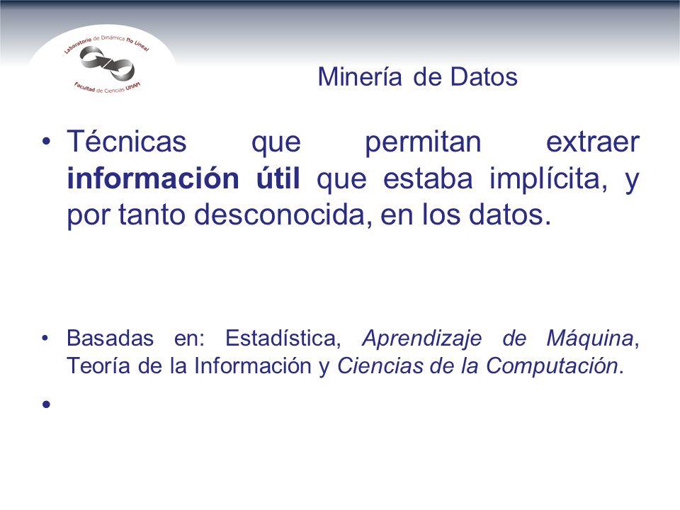 Minería de Datos Técnicas que permitan extraer información útil que estaba implícita, y por tanto desconocida, en los datos.