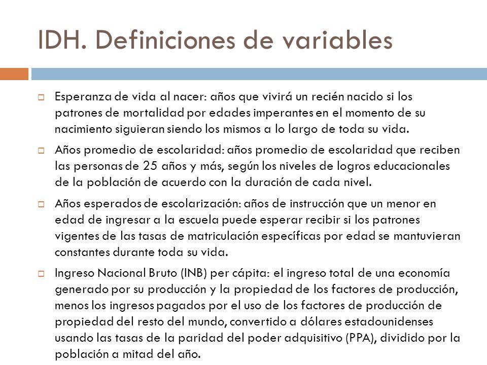 IDH. Definiciones de variables Esperanza de vida al nacer: años que vivirá un recién nacido si los patrones de mortalidad por edades imperantes en el
