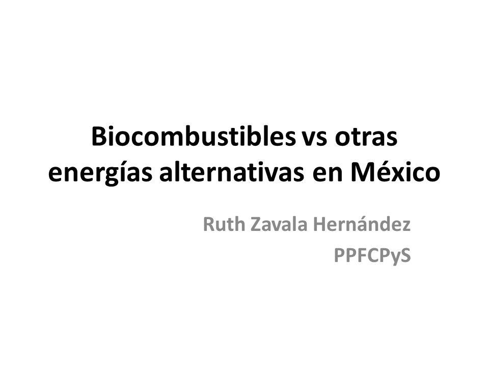 Biocombustibles vs otras energías alternativas en México Ruth Zavala Hernández PPFCPyS