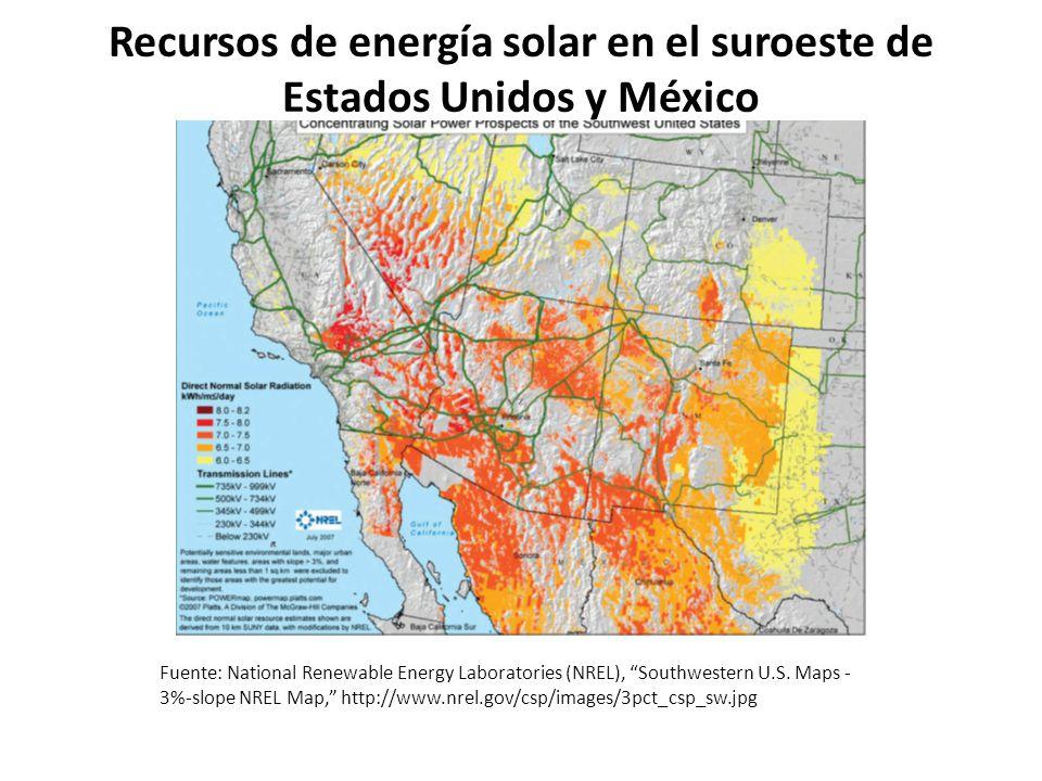 Recursos de energía solar en el suroeste de Estados Unidos y México Fuente: National Renewable Energy Laboratories (NREL), Southwestern U.S. Maps - 3%