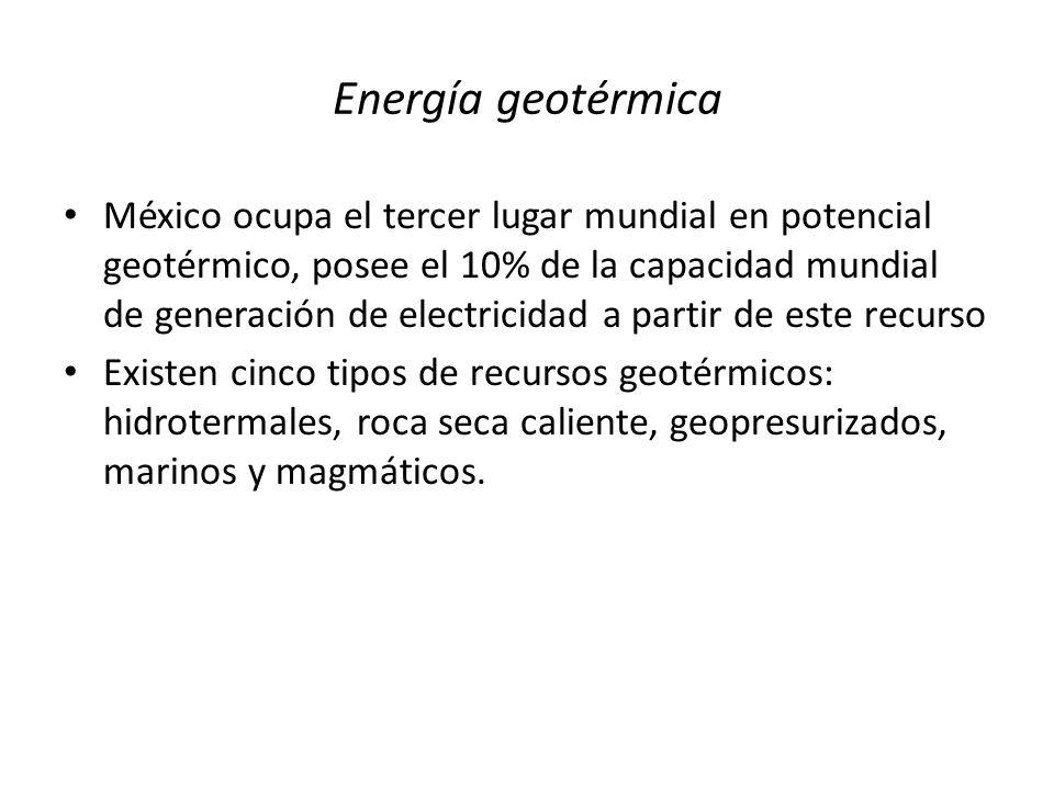 Energía geotérmica México ocupa el tercer lugar mundial en potencial geotérmico, posee el 10% de la capacidad mundial de generación de electricidad a