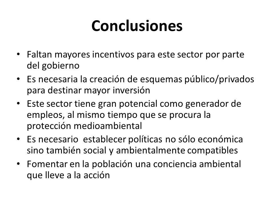 Conclusiones Faltan mayores incentivos para este sector por parte del gobierno Es necesaria la creación de esquemas público/privados para destinar may