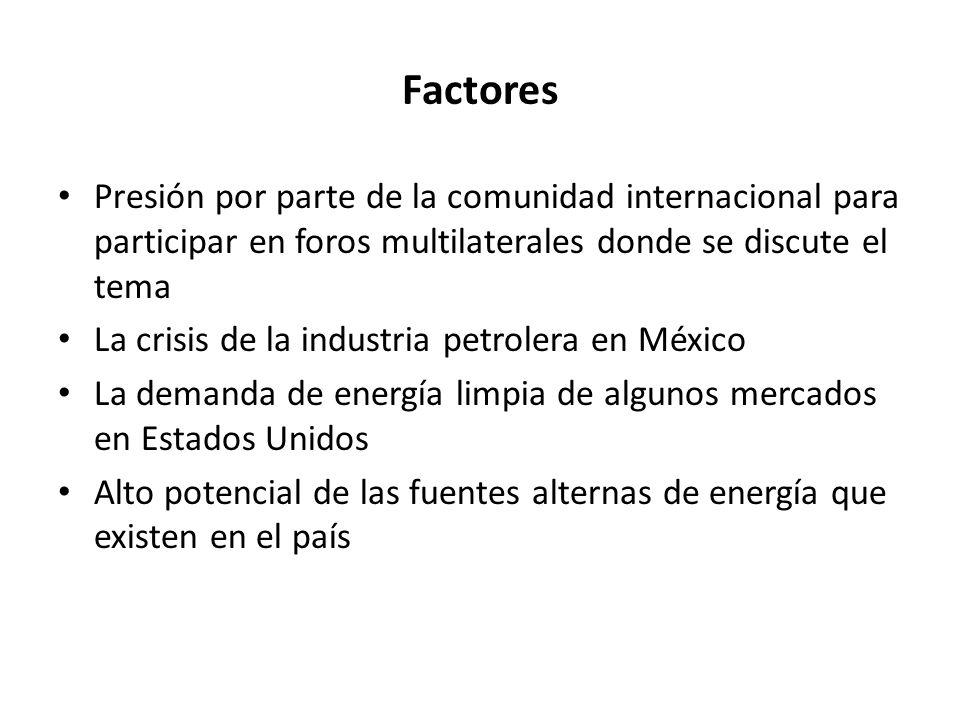 Razones de la falta de desarrollo en México de fuentes alternas de energía: El predominio del pensamiento energético vinculado al petróleo y en menor medida al gas La ausencia de cualquier consideración de seguridad energética debido a la abundancia de hidrocarburos Falta de conocimiento por parte del ejecutivo y legislativo del potencial nacional para la generación de energía renovable.