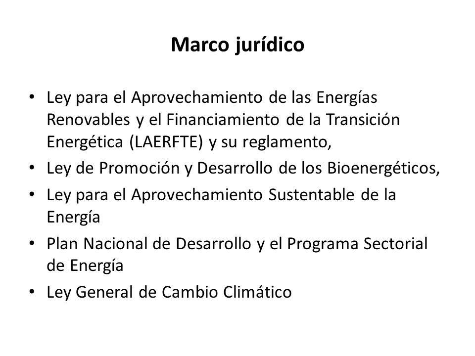 México pretende alcanzar un triple objetivo: Diversificar las fuentes primarias de energía y satisfacer la demanda interna Disminuir la dependencia a los combustibles fósiles Recudir las emisiones de GEI y el impacto ambiental de este sector