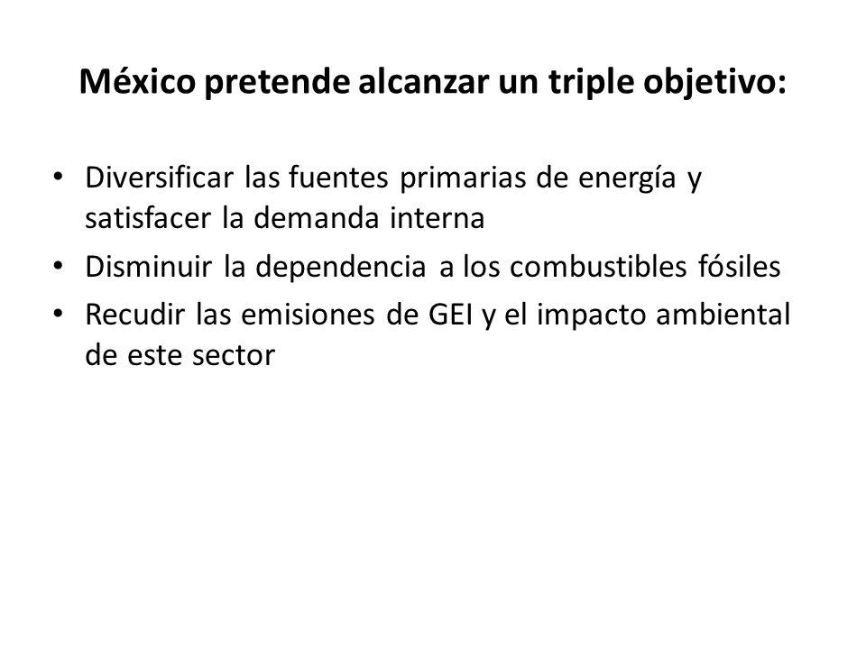 México pretende alcanzar un triple objetivo: Diversificar las fuentes primarias de energía y satisfacer la demanda interna Disminuir la dependencia a