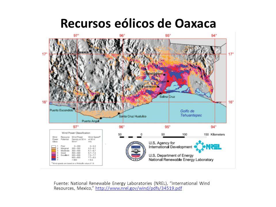 Mapa eólico de La Rumorosa Fuente: National Renewable Energy Laboratories (NREL), International Wind Resources, Mexico, http://www.nrel.gov/wind/images/map_mexico_baja.jpg