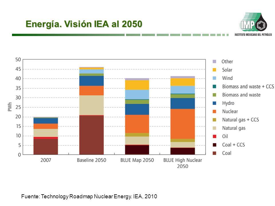 Energías Renovables. Visión IEA al 2050 Fuente: Technology Roadmap Wind Energy. IEA, 2010