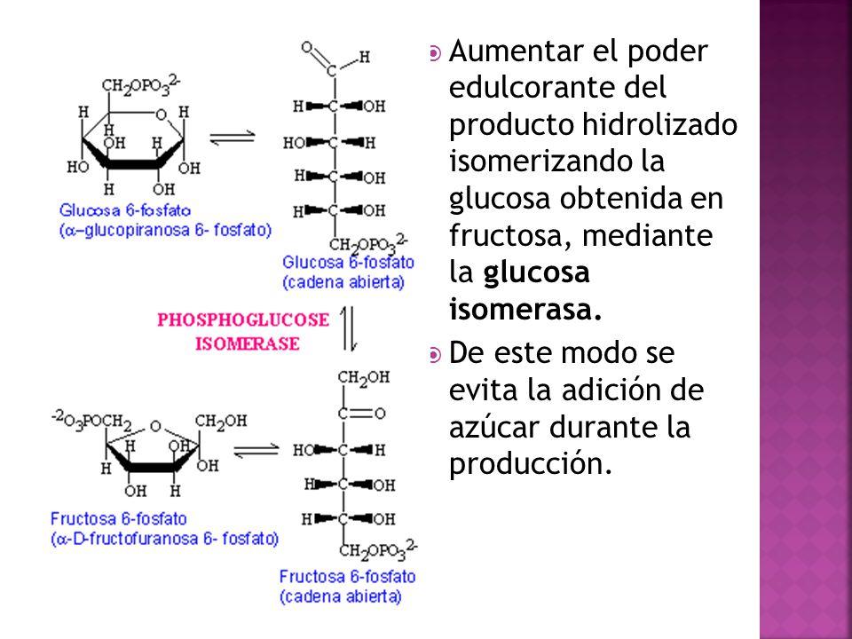 Aumentar el poder edulcorante del producto hidrolizado isomerizando la glucosa obtenida en fructosa, mediante la glucosa isomerasa.