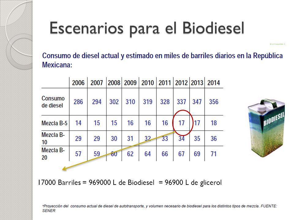 Escenarios para el Biodiesel 17000 Barriles = 969000 L de Biodiesel = 96900 L de glicerol