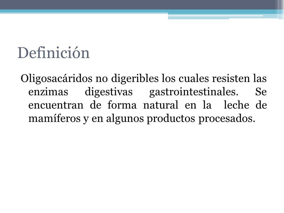 Definición Oligosacáridos no digeribles los cuales resisten las enzimas digestivas gastrointestinales. Se encuentran de forma natural en la leche de m