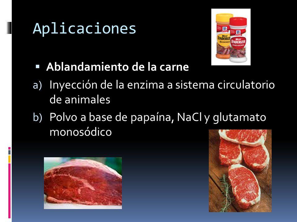 Aplicaciones Ablandamiento de la carne a) Inyección de la enzima a sistema circulatorio de animales b) Polvo a base de papaína, NaCl y glutamato monos