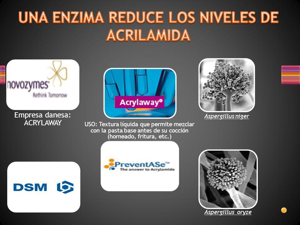 Asparaginasa comercial de uso alimentario reduce de un 50% a 90% los niveles de acrilamida VENTAJAS: Mantiene propiedades sensoriales y nutricionales del producto.